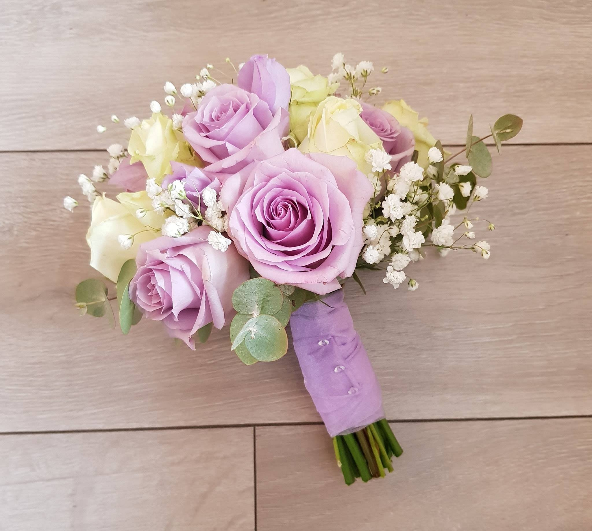 Lilac and ivory rose bridal flowers
