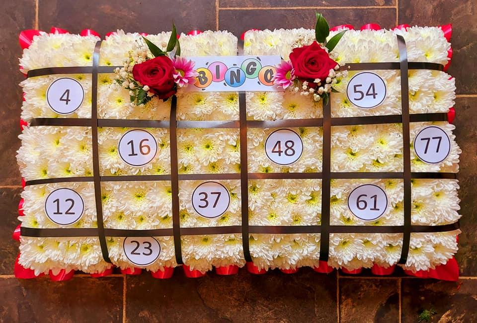 Bingo funeral flowers