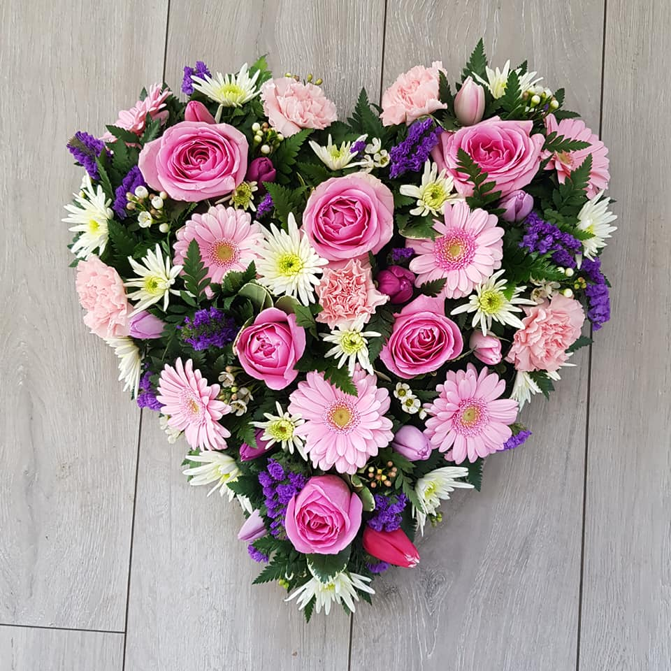Floral heart tribute