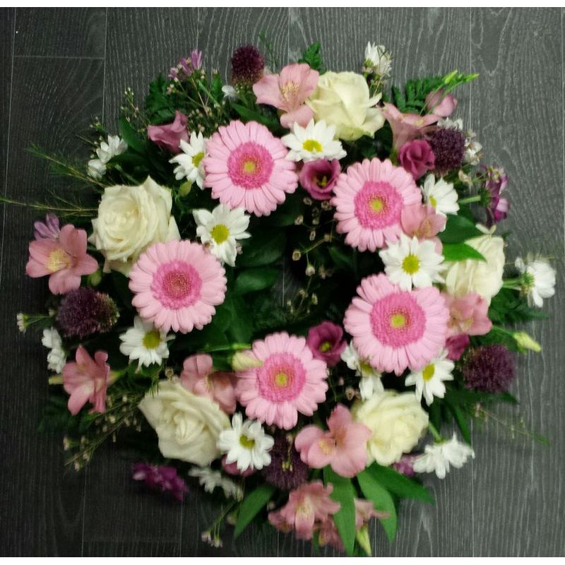 pink funeral wreath flowers